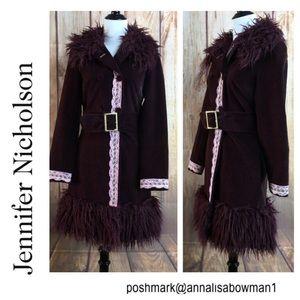 Jennifer Nicholson Faux Fur Belted Jacket size 4